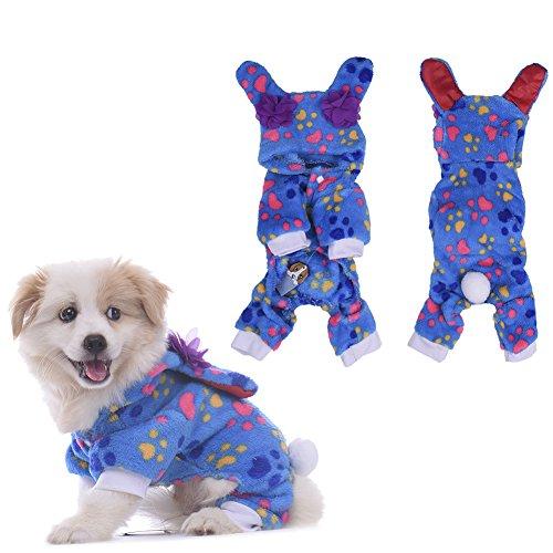 WIDEN Dog Pyjamas Cat Vêtements Salopette capuche Tenue de loisirs Quatre-Feet Pet Apparel chaud