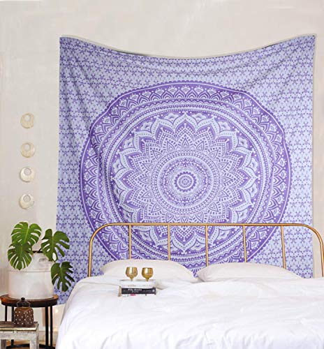 THE ART BOX Tapestry Purple Mandala Wall Hanging Psychedelic Tapestries Indian Cotton Bedspread Picnic Sheet Wall Decor Blanket Wall Art Hippie Bedroom Décor