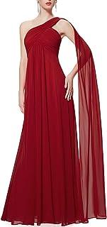 comprar comparacion Ever-Pretty Vestidos de Fiesta Gasa Un Hombro Corte Imperio Plisado sin Mangas para Mujer 09816