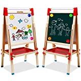 Kids Easel with Paper Roll Double-Sided Whiteboard & Chalkboard Standing Easel with Numbers and Other Accessories for Kids and Toddlers