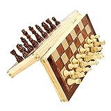Juego de ajedrez de madera, juego de damas de ajedrez de madera magnética, tablero de ajedrez plegable y piezas de ajedrez hechas a mano, juego de ajedrez Staunton de viaje de madera