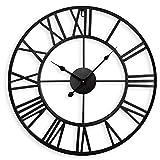 Orologio da parete silenzioso europeo da 40 cm Numeri romani vintage Orologio rotondo scheletro in ferro non ticchettio Applicare alla cucina Soggiorno Camino Arredamento camera da letto (Nera)