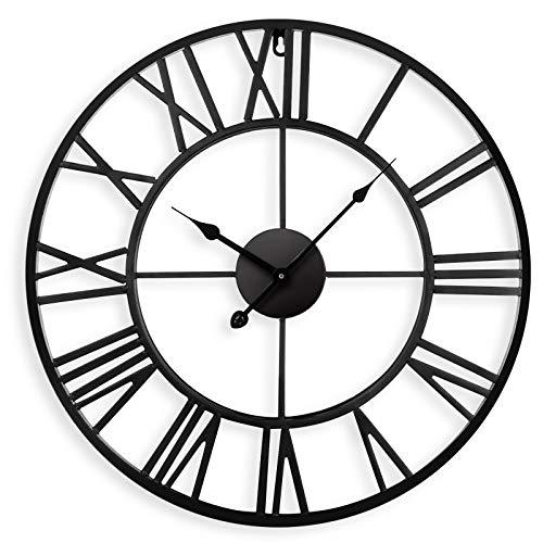 Reloj de pared silencioso europeo de 40 cm Números romanos vintage Sin tictac Reloj redondo de esqueleto de arte de hierro Aplicar a la cocina Sala de estar Chimenea Decoración del dormitorio (Black)