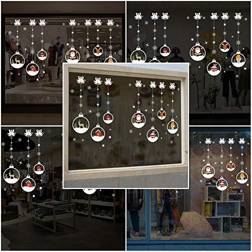 Dynamicoz Pegatinas De Navidad,Vinilo para Ventana Decoración Navideña Decoraciones Patrón De Cadena De Bola De Cristal De Navidad Adhesivos Autoadhesivos para Casarse Escaparate De advantageous