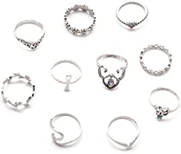 Desirepath 10 pcs Vintage Rhinestone Crystal Above Knuckle Stacking Band Ring Set for Yong Girls 2019 New