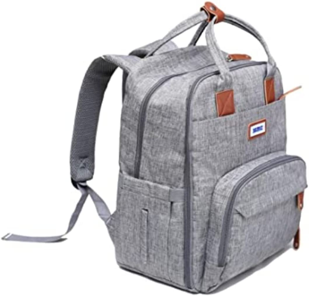Diaper Bag Backpack | Multifunction Travel Back Pack | Maternity Baby Changing Bags | Large Capacity | Waterproof and Stylish | Gray | Baby Bimmy