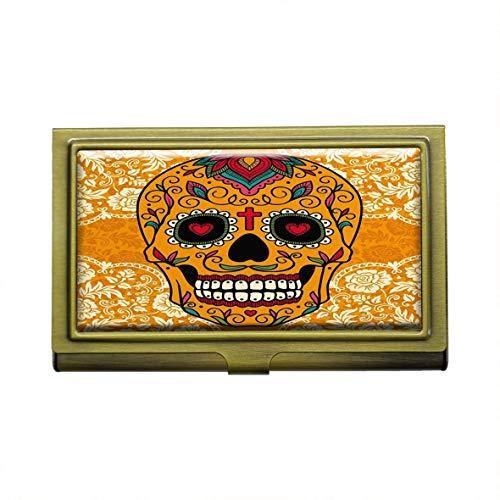 Tarjetero con diseño de calavera de azúcar mexicana en encaje para tarjetas de visita, de acero inoxidable, color bronce