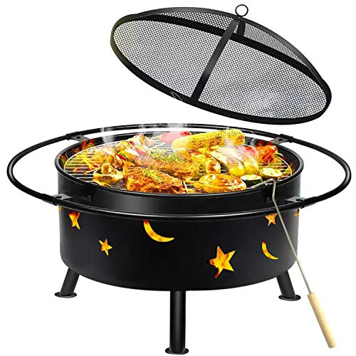 "Outdoor Fire Pits Wood Burning Grill - 30"" Round Steel Deep Bowl Firepit - Backyard Cosmic,Stars..."