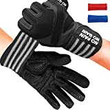 Fitness Gloves Men Women Workout Full Finger with Wrist Strap Support, Padded Grip for Weight Lifting Gym Training… (Black, XL)