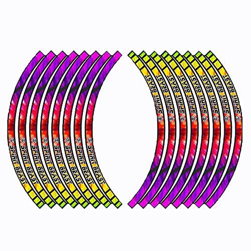 Pegatinas de Tiras de Ruedas,Pegatinas Llantas Moto 16 Piezas de 10-18 Pulgadas Pegatinas de Tiras de Ruedas Reflectantes Adhesivos para Borde de llanta Juego Completo (L8 17 Inches)