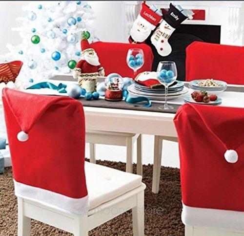 MEDIA WAVE store Kit 4 coprisedia Natalizio Cappello Babbo Natale per Schienale 70 x 52 cm