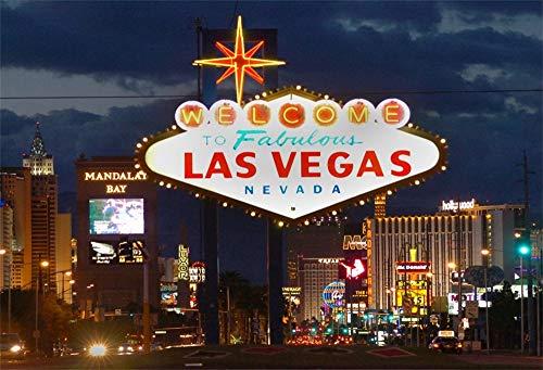 YongFoto 2,2x1,5m Polyester Foto Hintergrund Willkommen im Fabelhaften Las Vegas Nevada Unterhaltung Stadt Nachtsicht Fotografie Hintergrund Backdrop Fotostudio Hintergründe Requisiten