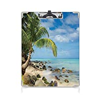 クリップボード A4サイズ対応 レンジップボード 海辺の装飾 作業用ペーパーホルダー (2パック)ロマンチックなビーチの静かなシーンヤシの木カリブ海の島の自然の写真