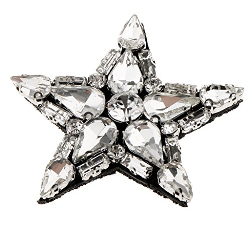 Star Beads Handmade Crystal Rhinestones Sew on Appliques Motif Patches DIY Decoration - Clear