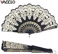 ファッションウォールランプ 結婚式の装飾の折りたたみハンドヘルドファンフラワーレースブラックウェディングダンスパーティーシルクファンファッションホットスタンピングファンスペインのスタイルのブライダルアクセサリー (Color : Black)