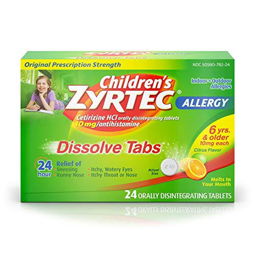 Children's Zyrtec 24 HR Dissolving Allergy Relief Tablets with Cetirizine, Citrus Flavored, 24 ct