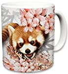 Sweet Gisele | Cute Animal Ceramic Mug | Coffee Lovers Cup | Zebra, Red Panda, Peacock, Leopard, Elephant Mugs | Great Novelty Gift | Decorative Drinkwear | Multi Color | 11 Fl. Oz