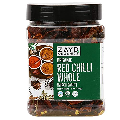 Zayd Organics Red Whole Chillies, Dried Red Chillies, USDA Organic, 5oz (141g)