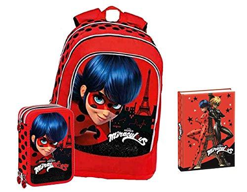 Schoolpack Sac à dos d'école Miraculous Ladybug rond américain organisé + trousse à 3 fermetures éclair avec couleurs + agenda Ladybug Chat Noir Rouge avec paillettes 12 mois Non daté
