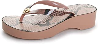 Printed Cut Out Wedge Flip Flop Sandals