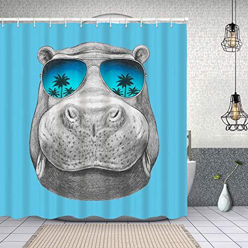 Cortina de Baño con 12 Ganchos,Retrato de hipopótamo con Gafas de Sol,Cortina Ducha Tela Resistente al Agua para baño,bañera 150X180cm