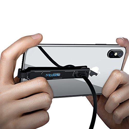 Mcdodo Cavo USB 1.2 m Gaming 90 gradi durevole ad angolo retto specialmente per telefono gamer con indicazione della luce per iPhone/8 x/8PLUS/7/7PLUS, iPad, ipod(black 1 confezione)