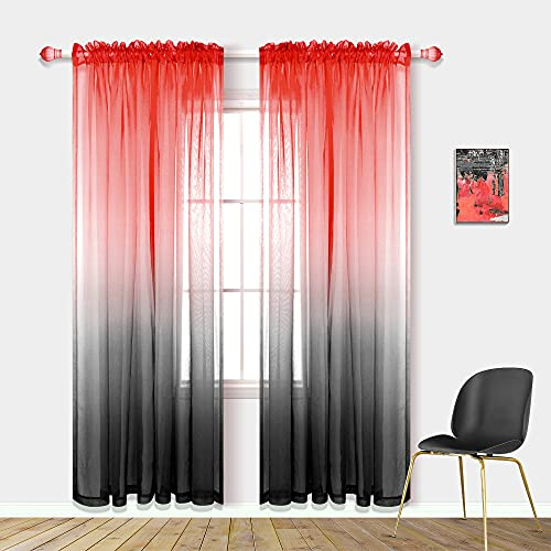 Modern Living Room Curtains 84 Inch Length 2 Panels Set Chic Grey Black and Red Room Decor Bedroom Decorations