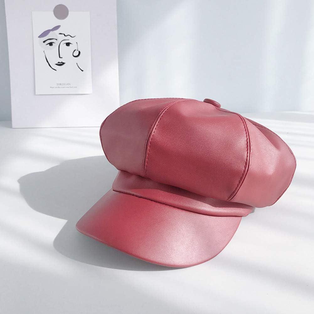 BELEMON Pu Leather Octagonal Cap Women Autumn and Winter Cap Casual Beret Hat Artist Painter Cap for 90 Girls