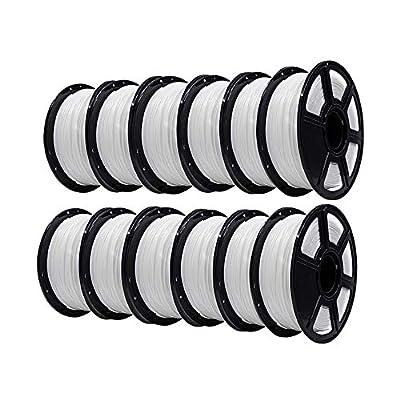 Flashforge PLA 1.75mm 3D Printer Filaments 1kg Spool-Dimensional Accuracy +/- 0.05mm for Creator Pro (White 12 Rolls)