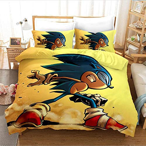 JSYJ Anime Sonic The Hedgehog - 2020 New 3d Double Bed Cover Set Three-piece Bedding Set Full Size Double Bedding Duvet Sets Pillow Case (Size : 173 * 218cm)