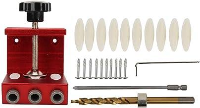 Agujero de Bolsillo Guía de Taladro Aleación de Aluminio Agujero de Bolsillo Plantilla Hogar Herramienta para Perforar Agujeros para Trabajar la Madera(rojo)
