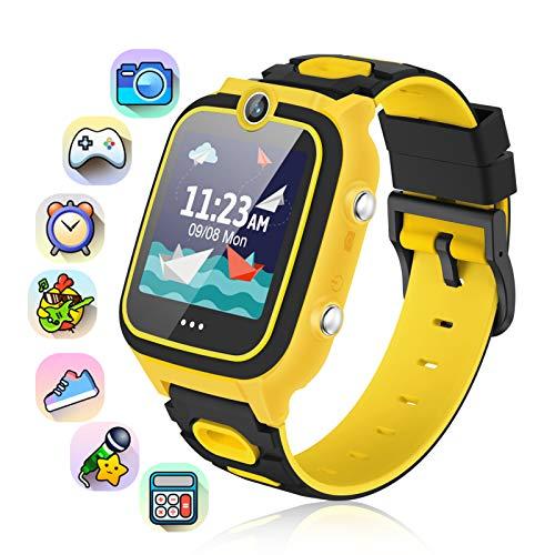 Smartwatch Kinder, 9 Spiel Musik Kinder Smartwatch Uhr Dual Kameras Video Smart Watch 1,54 Zoll IPS HD Berührungssensitiver Bildschirm Wecker Kinder Kinderuhr Mädchen Junge (Gelb)