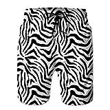 Shorts pour Hommes, Maillots de Bain, Pantalons décontractés modèle sans Couture de Texture de Peau de zèbre Animal XL