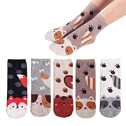 LANTING Damen Socken Lustige Tier Motivsocken Baumwolle Thermal Warm Bunte Socken Niedlich Karikatur Witzige Frauen Lässige Socken EU35-42