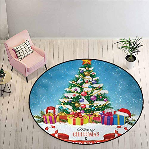 LiHomecurtain Area Rugs New Year Tree Surrounded by Surprise Boxes Nativity Noel Yule Concept Artwork Print Print Mat Carpet Make Your House More Modern, Chic Multi Diameter - 5 Feet