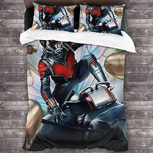 Sci-Fi A-nt-M-an - Juego de cama de 3 piezas, 218,4 x 177,8 cm, suave y ligero, juego de funda de edredón con 2 fundas de almohada para adolescentes, niños, niñas, dormitorio, decoración