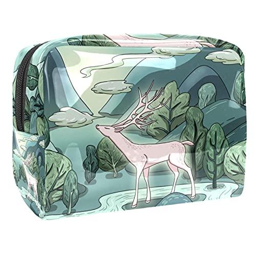 Bolsa de cosméticos para Mujeres Colinas Verdes y Aguas Azules. Bolsas de Maquillaje espaciosas Neceser de Viaje Organizador de Accesorios