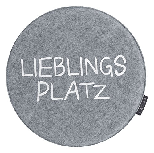 2er Pack Magma Stuhlkissen Sitzkissen Avaro Lieblingsplatz Ø ca. 35cm Filzimitat (grau)