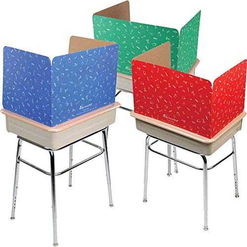 Large Privacy Shields for Student Desks – Set of 12-3 Group Colors -Gloss - Study Carrel Reduces Distractions - Keep Eyes from Wandering During Tests, Red, Blue & Green School Supplies Pattern