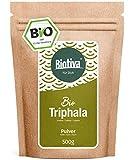 Polvo de triphala orgánico - 500 g- de amalaki, haritaki y bibhitaki - triphala orgánico ayurvédico - llenado y verificado en Alemania (DE-ÖKO-005)