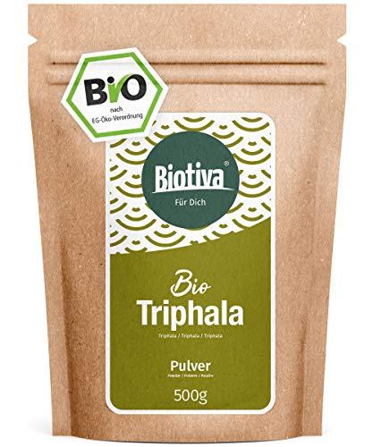 Triphala Bio Pulver - 500g - aus Amalaki, Haritaki, Bibhitaki - Ayurveda Biotriphala - Abgefüllt und Kontrolliert in Deutschland (DE-ÖKO-005) - 100% Vegan