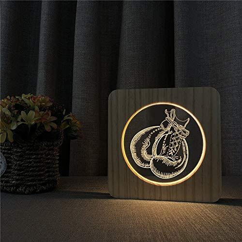 Boxhandschuhe Design Acryl Holz Tischlampe Nachtlicht Schalter Gravur Kontrolllampe Kinderzimmer Dekoration Geschenk