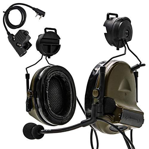 TAC-Sky Taktisches Headset Comta II Helmversion Geräuschreduzierung Geräuschaufnahme für Airsoft-Aktivitäten (Armeegrün)