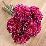 Yyhmkb 2 Manojo / 12 Piezas de crisantemo Artificial Flor Artificial Flor de Seda Planta Falsa para Boda Oficina decoración de Sala de Estar Rojo Vino