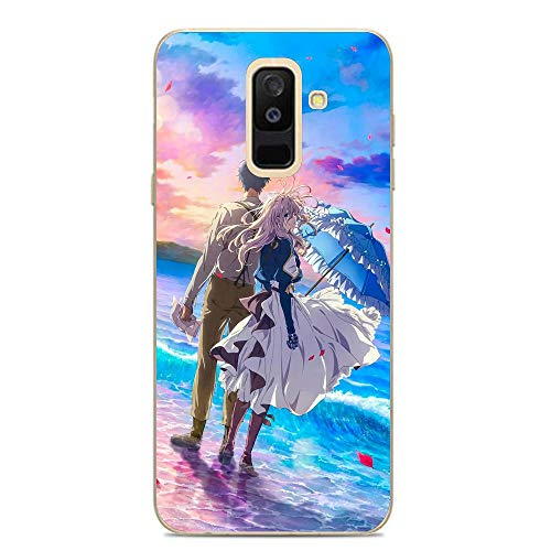 QNNN Transparent Silicone TPU Shockproof Clear Case Compatible with Samsung Galaxy A6 Plus/J8 2018/A9 Star Lite-Violet-Evergarden Bougainvillea-Gilbert 6