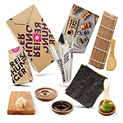 Reishunger Sushi Einsteiger Box mit Sushi Reis, Sojasauce, Nori Algen, Bambusmatte, Wasabi, Ingwer, Essstäbchen - inkl. Rezeptkarte zum Selbermachen - perfekt auch als Geschenk