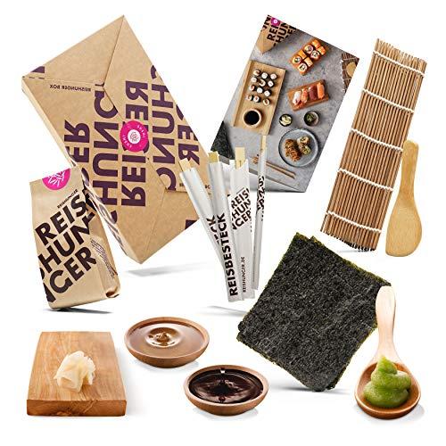 Reishunger Sushi Einsteiger Box, Komplett-Set zum Selbermachen inkl. Rezeptkarte. Original Japanische Zutaten wie Sushireis, Bambusmatte, Sojasauce, Nori Algen, Wasabi, Ingwer, Essstäbchen – perfekt auch als Geschenk