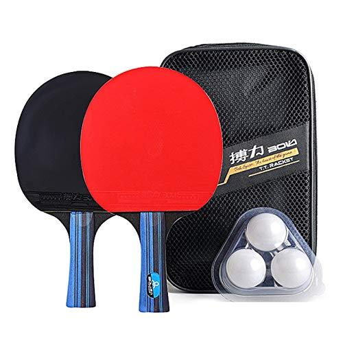 PPCAK Juego de Ping Ping Ping Ping Ping Ping Ping Ping Ping Raquetas de Tenis y 4 Bolas con Bolsa de Tapa para 2 Jugadores (Color : Short Handle 3 Balls)