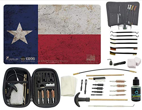 EDOG Premier 30 Pc Gun Cleaning System - Texas Lone Star State Flag Handgun Honor & Pride Pistol Mat & Range Warrior .22 .38 .357 9MM .45 Gun Cleaning Kit & 12 PC Tac Book Cleaning Essentials Kit -  EMERGENCY DISASTER OUTDOOR GEAR7