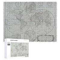 INOV 旧式な地図 ジグソーパズル 木製パズル 500ピース キッズ 学習 認知 玩具 大人 ブレインティー 知育 puzzle (38 x 52 cm)